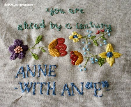 bordado Anne of Green Gables Anne with an e embroidery